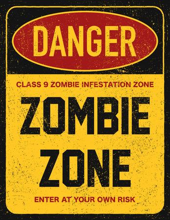 Halloween warning sign danger zombie area. Vector illustration