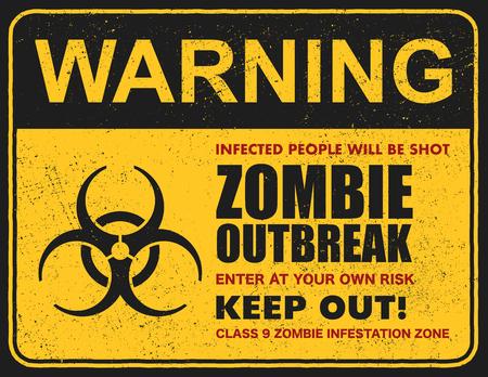 Poster Zombie-Ausbruch. Zeichenbrett mit Zombie, Wörter Zombie-Ausbruch verlassen diesen Bereich. Vektor-illustration