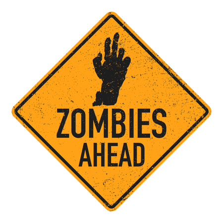 Sign board with zombie hand, words zombies ahead. Vector illustration Vectores
