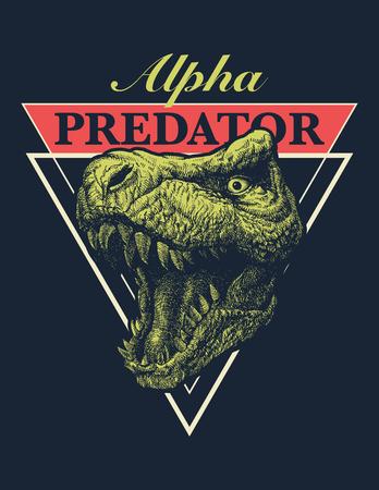 Vector Adventure graphic with tyrannosaurus. Vector illustration.