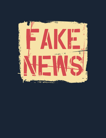 Fake News text. Hybrid warfare, alternative facts, fake news and media manipulation, propaganda. Vector illustration. Çizim