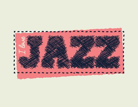 I love jazz. Element for your design. Vector illustration.  イラスト・ベクター素材
