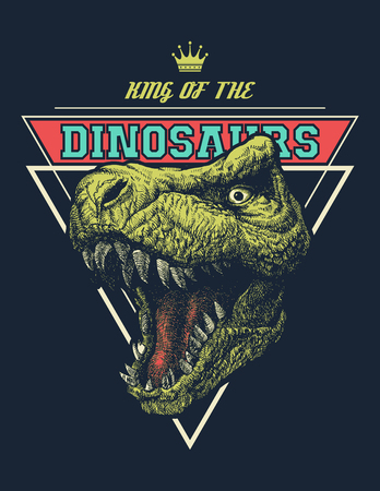 Vector King of dinosaurs graphic with trex. Vector illustration.