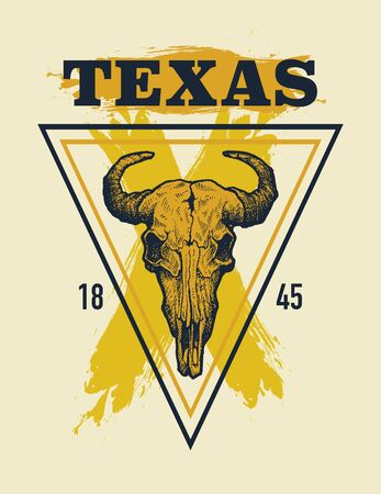 Texas buffalo tee print graphic. Vector illustration. Ilustracja