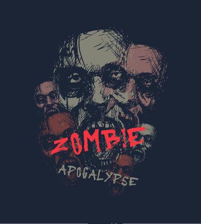 Zombie apocalypse. Zombie head. Hand drawn vector illustration Vetores