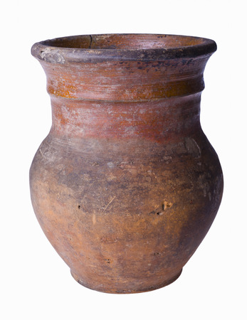antique vase: Ancient clay pot isolated on white background