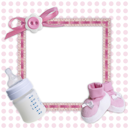 pink bow: Baby frame with pink bow, boots and bottle