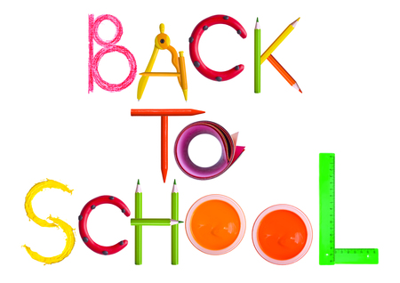 green back: Back to school text Stock Photo