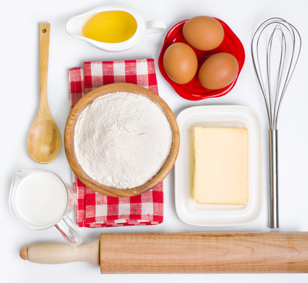 rolling pin: Baking ingredients collection, isolated on white