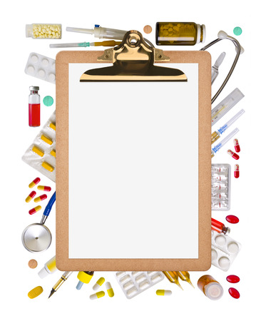medical supplies: Blank clipboard with paper and medical supplies