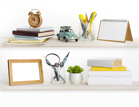 bleached: Bleached wooden shelves with different home related objects