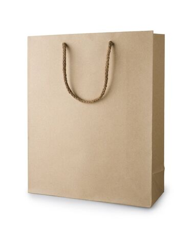 white paper bag: Brown recycle shopping bag with handles isolated on white