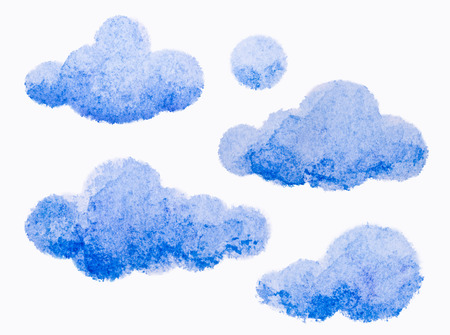 Blue watercolor clouds on white background photo