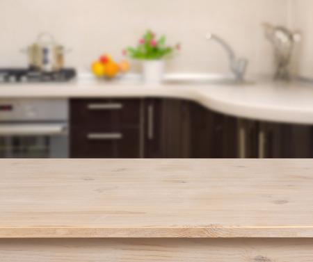 Breakfast table on kitchen interior background Foto de archivo
