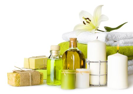 herbal cosmetics: Composition of spa settings isolated on white background