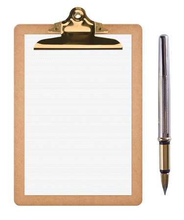 clipboard isolated: Brown clipboard with blank white paper and ink pen isolated on white Stock Photo