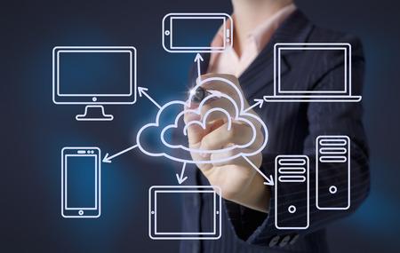 wolken: Geschäftsfrau, zieht Cloud-Computing-Konzept