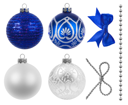 silver ribbon: Christmas decoration on white background