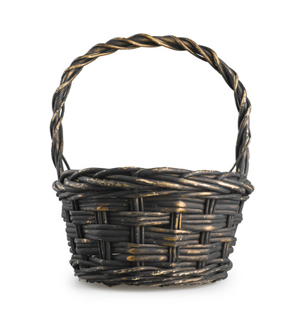 wicker basket: Classic wicker basket isolated on white background Stock Photo