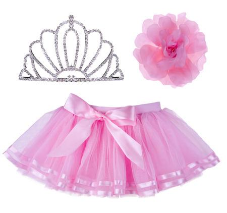 bow hair: Collage de la falda de color rosa para ni�a, corona y diadema para el pelo