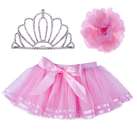 hair bow: Collage of pink skirt for girl, crown and hair bow