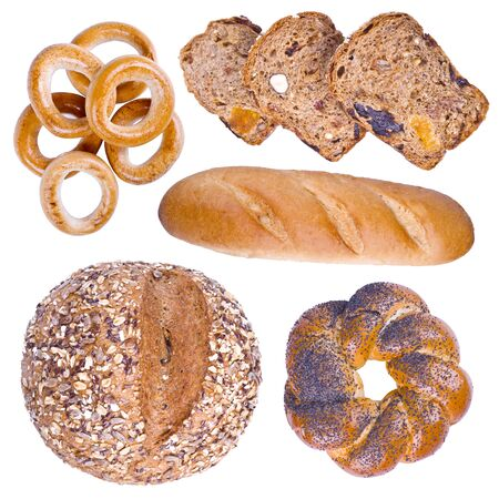 bakery products: Collection of isolated bakery products