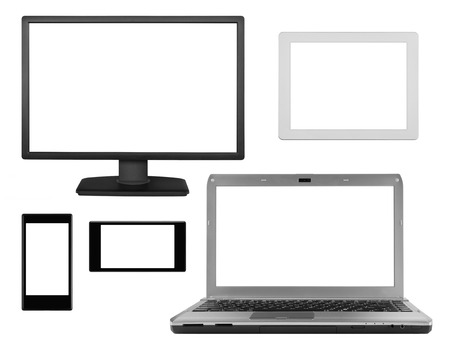 flat panel monitor: Collection of laptop and portable computer monitor icons Stock Photo