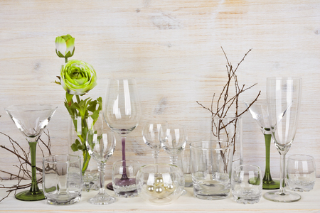 glassware: Collection of various glassware on wooden background Stock Photo