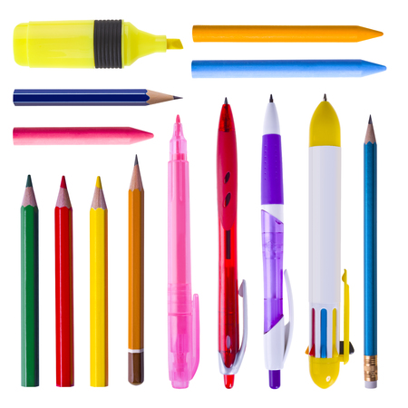 yeloow: Collection of writing tools isolated on white Stock Photo