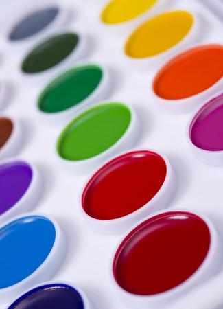 paints: Colorful set of watercolour paints