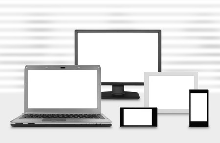 computer screens: computer monitor screens on venetian blinds background