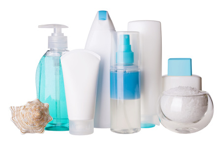 cosmetic bottles and spa salt photo