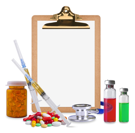 medical supplies: Composition of empty clipboard and medical supplies