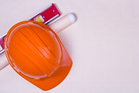 graph paper: Construction Hard hat, level tool and graph paper
