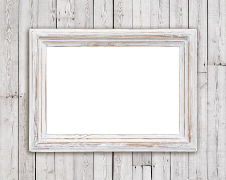 picture frame on wall: Bleached wooden picture frame on vintage plank wall background Stock Photo