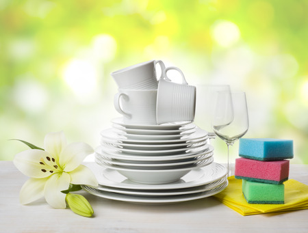 catering service: Clean tableware, dishwashing sponges and lily flower over abstract background Stock Photo