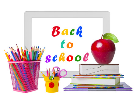 education concept: Education concept with tablet pc, books and pencils Stock Photo