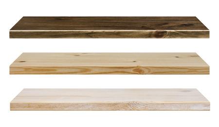 wood rustic: Diferentes estantes de madera de colores aislados en blanco Foto de archivo