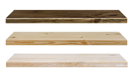 wood shelf: Different color wooden shelves isolated on white