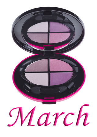 8 march: Eye shadow pallete box isolated on white. 8 March concept
