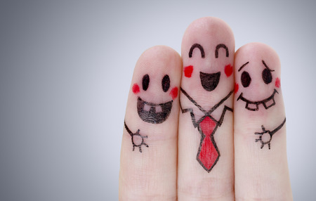 Fingers with happy smiley face Stock Photo