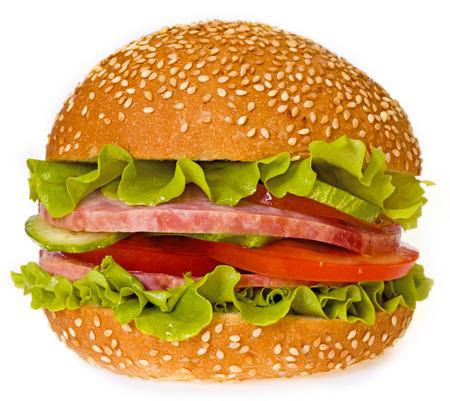 ham sandwich: Ham sandwich isolated on white Archivio Fotografico