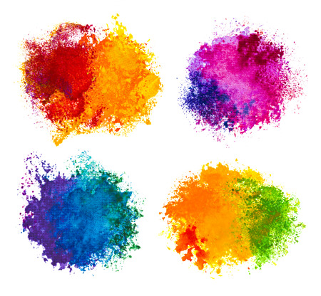art contemporary: Hand drawn paint splashes isolated on white