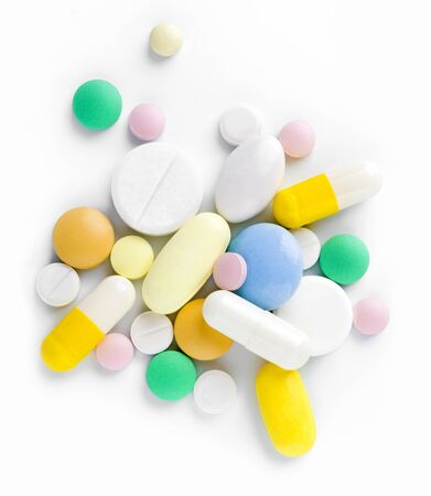 antibiotic pink pill: Heap of different tablets, pills and capsules Stock Photo
