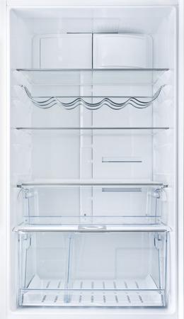 empty glass: Interior de una nevera vacía blanca abierta Foto de archivo
