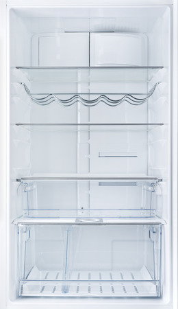 refrigerator with food: Interior of an open empty white fridge
