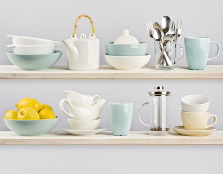 ware: Kitchenware on wooden shelves