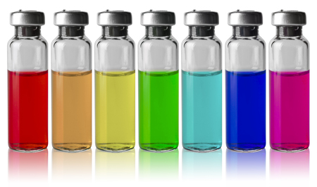 color spectrum: Medical vials in a row by color spectrum Stock Photo
