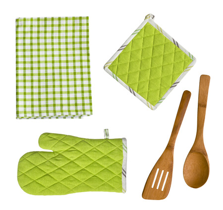 Isolated wooden kitchen utensils, glove, potholder and towel
