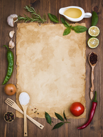 古いレシピのメモ背景の概念 写真素材